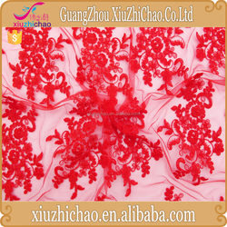 Manufacturer online selling best price bridal corded red lace fabric for dress making