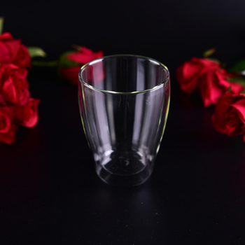 clear borosilicate double wall coffee glass cup