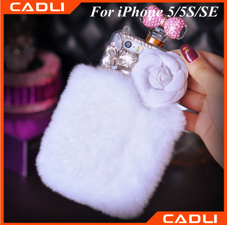 white shinny rabbit fur perfume bottle 3D silicone phone case for iphone 5