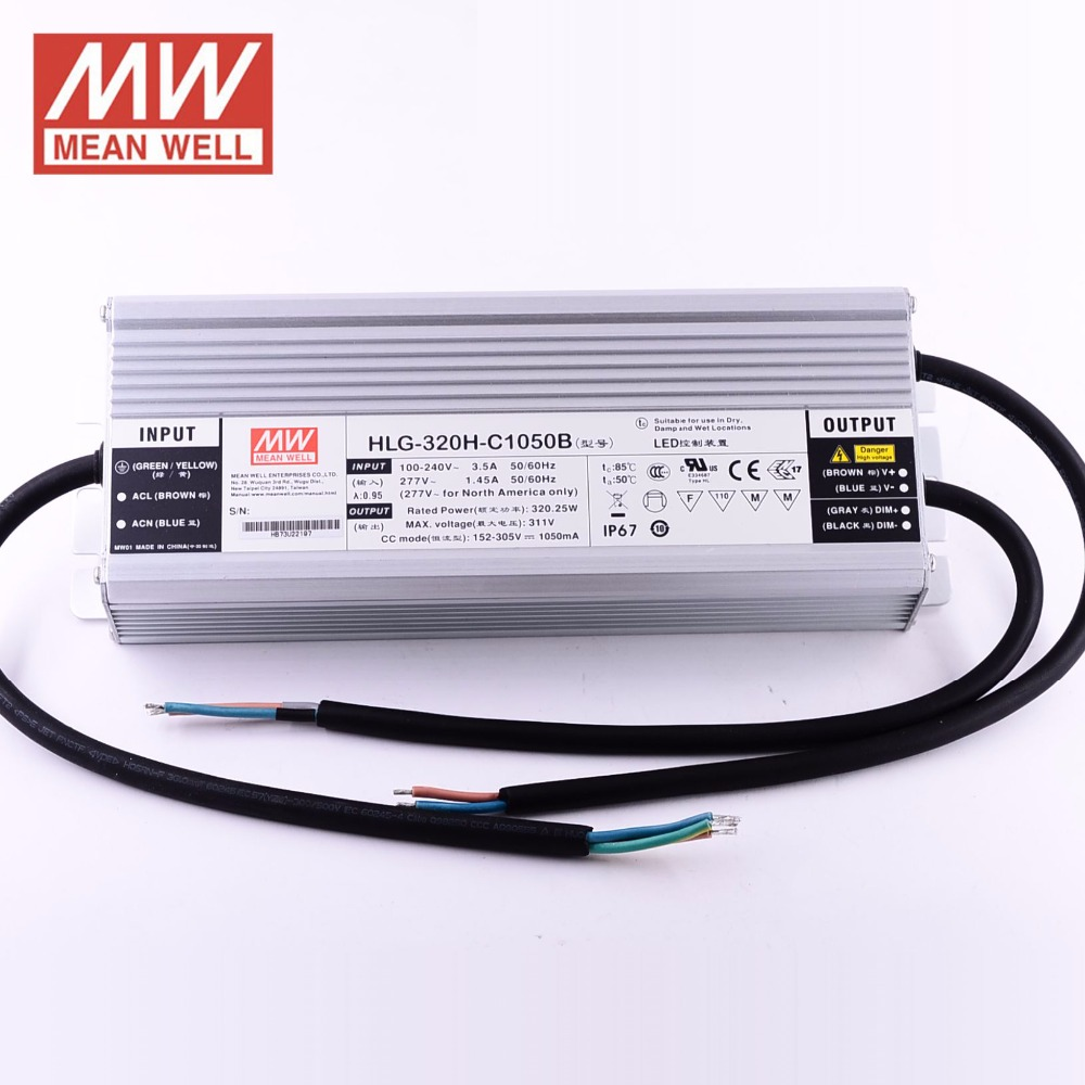Mean well 320W 1050mA Constant Current Dimmable LED <strong>Driver</strong> HLG-320H-C1050B