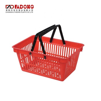 Double Handle Stackable Plastic Shopping Baskets For Retail Stores