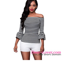 Latest Women Tops 2016 Hot Very Cheap Black White Stripes Off Shoulder Top