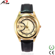 Moon shape gold watch leather wrist watches beautiful japan movt ladies watch