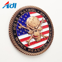 Zinc alloy casting coin shiny copper custom design and logo challenge coin