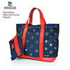 1285-2018 Carteras y bolso Paparazzi manufacturer newly development lady drawstring canvas tote bag leather handle