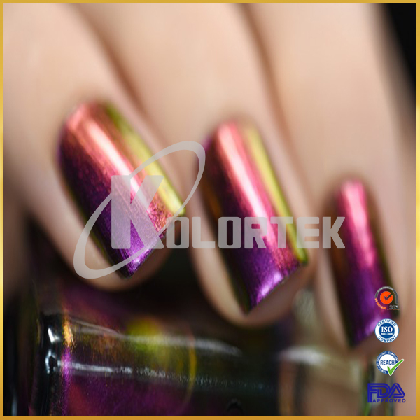 Chameleon effect iridescent pigment powder, cosmetic chameleon pigment