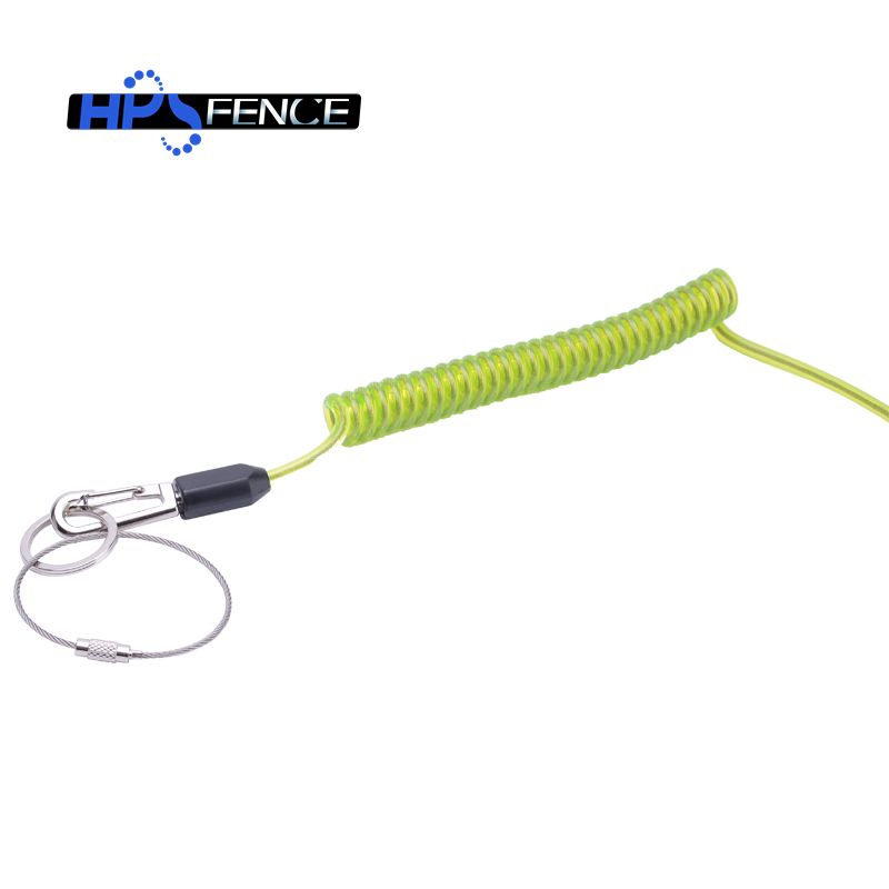 Double spring hook green color bungee coil lanyard with carabiner holder for safety