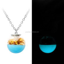 Round Mini Glass Ball Necklace with Dried Flower and Glowing Enamel Inside