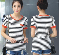 contrast color knit 100% cotton round neck t-shirt with stripes for women wear apparel t shirt wholesale china