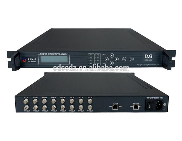 SC-2135 8 DVB-S/S2 to 64 IP Gateway/DVB-S2 to IPTV IRD/FTA satellite channel to IPTV