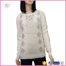 2018 OEM fall and winter latest design best selling slim pullover women sweater computer machine design with diamond