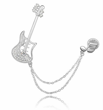 BR3333 2013 hot sale guitar symbol pave Austrian crysta platinum plating wedding bridal brooch