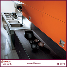 orange and wood grain finishing kitchen boxes combination