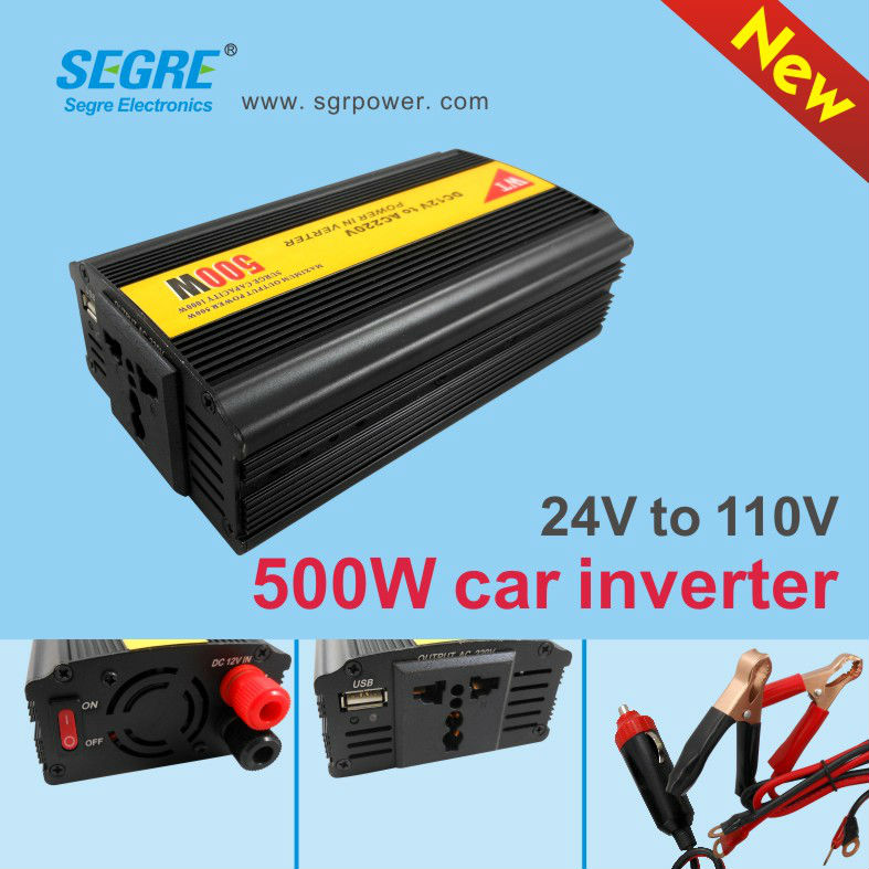 portable 500w 24v to 110v high capacity power inverter