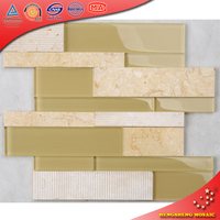 HF-3 Bright Cream Color Stone mix Crystal Glossy Tan Yellow Glass Decoractive Wall Tile Mosaic Backsplash