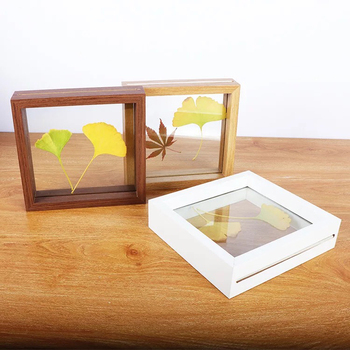 Door to door shipment 8x10 inch Natural Wood Color Double Sided Glass Picture Frame