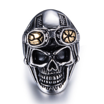 RI00111 Yiwu WT retro domineering 361L stainless steel skull ring, air force pilot titanium steel jewelry wholesale