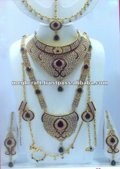 Indian Ethnic Bridal jewellery set - Indian polki bridal jewelry set wholesale - wedding wear dulhan set