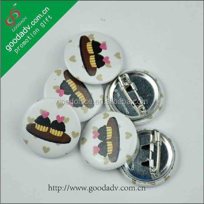 Custom make your own style tin badge with plastic clip
