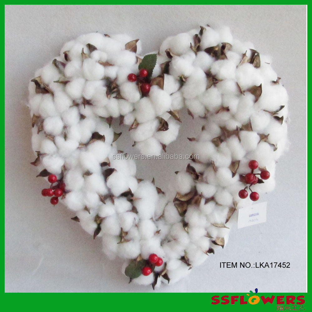2017 cheap artificial cotton flowers,cotton heart Shaped wreath/handmade folwer
