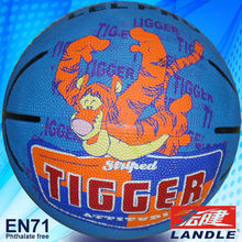 Hot sale rubber globe football logo with cartoon picture printed indoor basketball