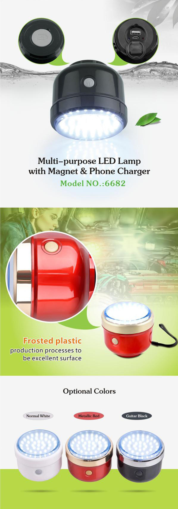 Magnet rechargeable LED portable emergency working camping light