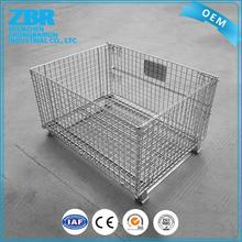 Industrial storage pallet wholesale folding hot sale zinc plated wire mesh cage container with wheels