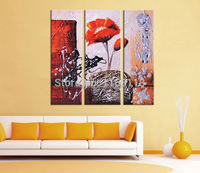 3 piece decorative art set modern wall art abstract red flower on stone hand painted Oil Painting on Canvas