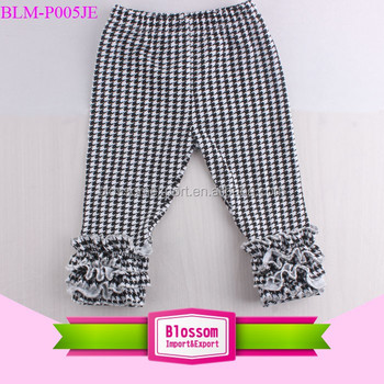 2017 Wholesale icing black and white houndstooth ruffle legging baby sew sassy pants new design children leggings triple ruffles