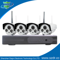 Wireless surveillance system with dvr kit 4 security wireless camera kit
