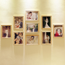 7 inch digital wall soild wood photo stand frame 9 pcs wall photo frames