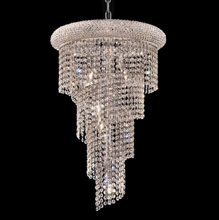 China K9 crystal chain spiral chandelier light for hotel stair living room