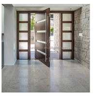 Contermporary solid wooden pivot entry doors with window