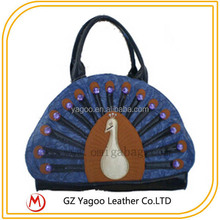 elegant unique shape bag peafowl batik tote bag