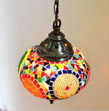 JLM-338 MEDIUM HANDMADE TURKISH MOROCCAN MOSAIC HANGING LAMP PENDANT LANTERN LIGHTING turkish mosaic lamp