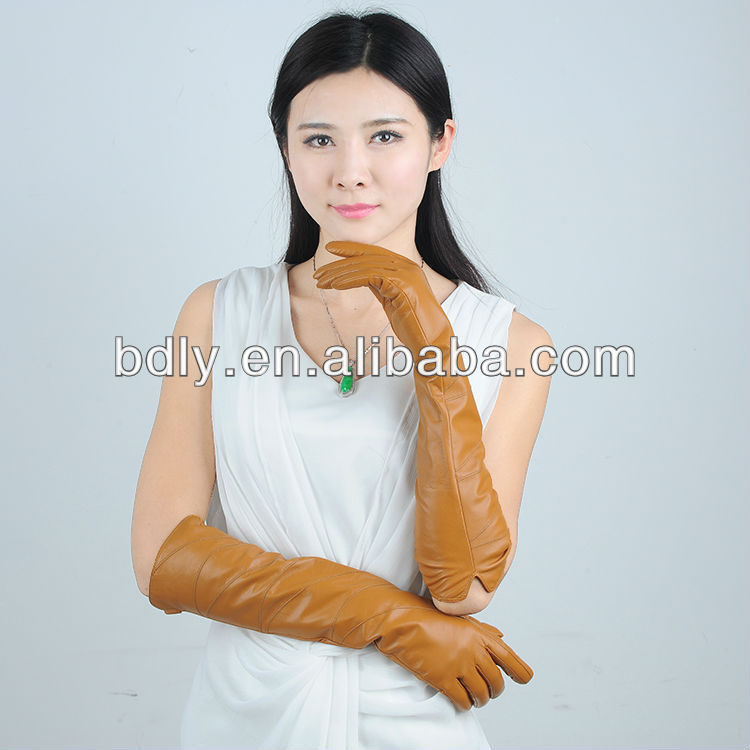yellow long ladies leather dancing glove with factory price
