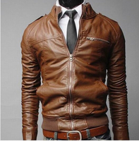 New fashion slim fit men brown leather jacket for men china supplier