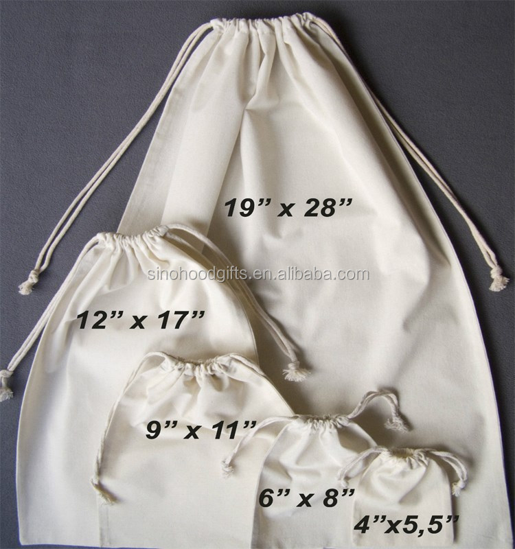 Wholesale 100% cotton eco friendly custom muslin cheap drawstring bags