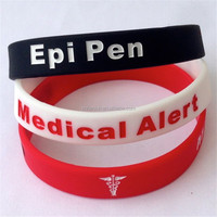 EPI PEN Medical Alert wristband silicone bracelets rubber wrist bands cuff bangle free shipping by FEDEX express