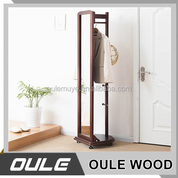 Multi Function Wooden Coat Hanger Stand Dressing Mirror With Coat Delectable Wooden Coat Hanger Rack