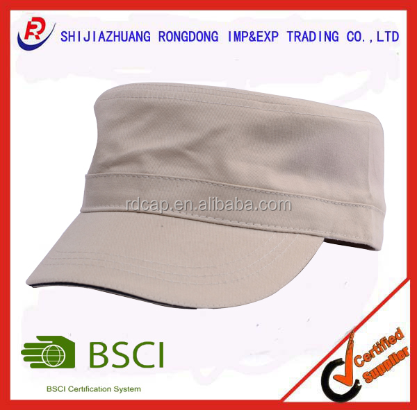 Alibaba most popular custom 100% cotton twill flat cap and hat with sandwich for promotion