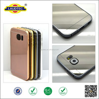 2015 New Style Metal Alumium Mirror Glass Back Panel Bumper Cellphone Case Cover For Samsung Galaxy S6