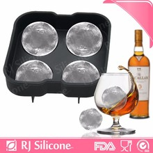 RJSILICONE silicone ice ball maker silicone freezer tray with lid cheap silicone 4-Cavity ice ball cube tray