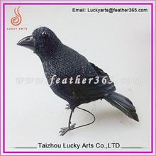 Lucky Arts black feather birds for halloween decoration