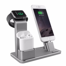 2018 newest Aluminum 3 in 1 Stand Desktop dispaly Bracket Portable Charging Docks Station Holder For iPhone AirPod Apple watch