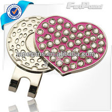 Heart Rhinestones Ball Marker and Hat Clip