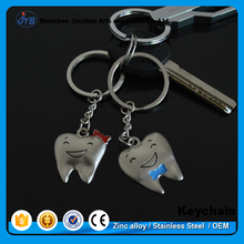 Funny Lovely Couple Keyring Custom Name Teeth Shaped Metal Keychain