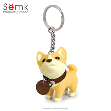 Hot sale promotional Novelty dog shaped soft pvc plastic keychain