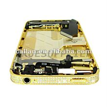 Gold Plated Luxurious Diamond Crystal Assembly Housing Middle Chassis Bezel For IPhone 4 4S
