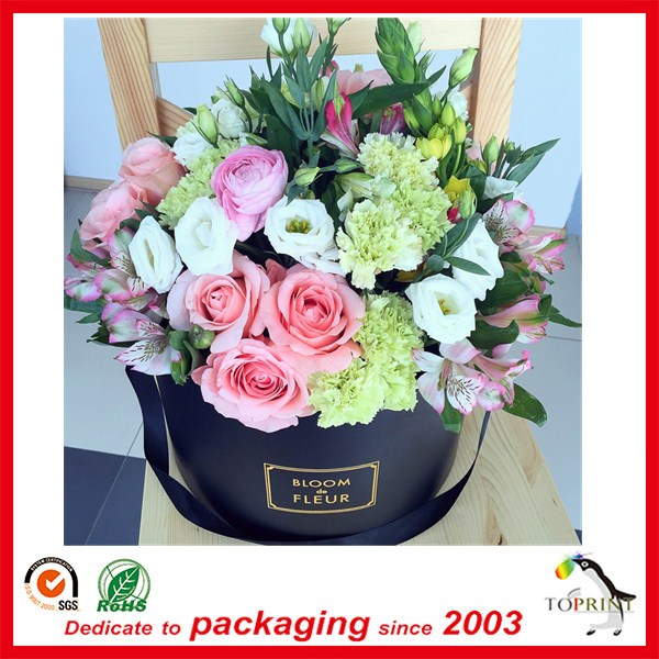 2017 custom luxury waterproof round cylinder paper flower gift box with lid wholesale